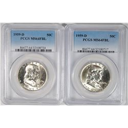 2 1959-D FRANKLIN HALF DOLLARS PCGS MS64 FBL