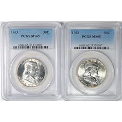 ( 2 ) 1963 FRANKLIN HALF DOLLARS, PCGS MS-65