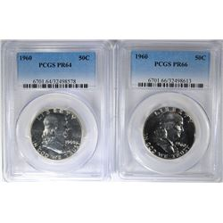 2 - 1960 PROOF FRANKLIN HALF DOLLARS PCGS PR66 & PR64