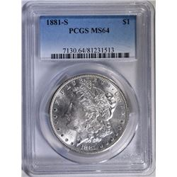 1881-S MORGAN SILVER DOLLAR PCGS MS 64