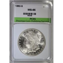 1882-S MORGAN SILVER DOLLAR, PCSS GEM BU