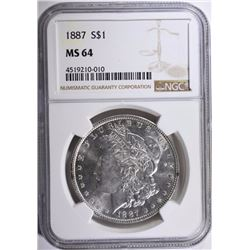 1887 MORGAN SILVER DOLLAR, NGC MS-64