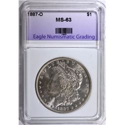 1887-O MORGAN SILVER DOLLAR, ENG CHOICE BU