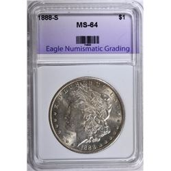 1888-S MORGAN SILVER DOLLAR, ENG CH/GEM BU  BETTER DATE!
