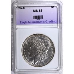 1892-O MORGAN SILVER DOLLAR, ENG  CHOICE BU