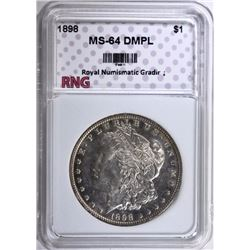 1898 MORGAN DOLLAR RNG GRADED CH BU DMPL