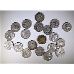 20 - SILVER WASHINGTON QUARTERS - ALL DIFFERENT - 1930's, 1940's, 1950's, 1960's