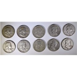 10 - BEN FRANKLIN HALF DOLLARS - ALL DIFFERENT DATES - 90% SILVER, $5 FACE