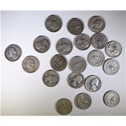 20 - SILVER WASHINGTON QUARTERS - NICE MIX - 1930's, 1940's, 1950's, 1960's