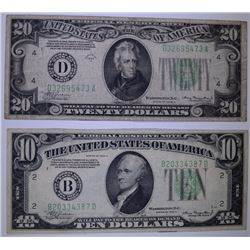 FEDERAL RESERVE NOTES: 1934 A $10.00 VF & 1934 A $20.00 VF