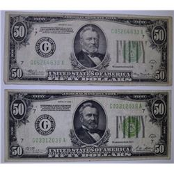 $50.00 FEDERAL RESERVE NOTES: 1928 A  & 1934 NICE FINE+/VF