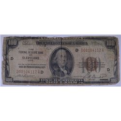 1929 FEDERAL RESERVE NOTE CLEVELAND, OHIO NATIONAL CURRENCY, AG