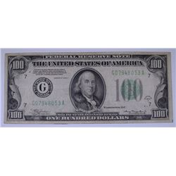 1934-A $100.00 FEDERAL RESERVE NOTE, VF  NICE!