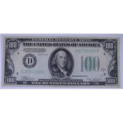 1934-B $100.00 FEDERAL RESERVE NOTE, VF  NICE!