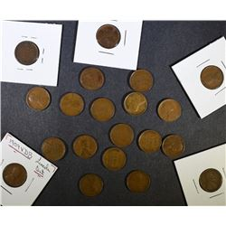 20-PIECES VERY NICE CIRCULATED 1909 VDB LINCOLN CENTS
