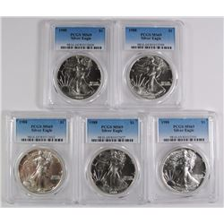 LOT OF ( 5 ) 1988 AMERICAN SILVER EAGLES, PCGS MS-69
