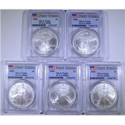 ( 5 ) 2006 AMERICAN SILVER EAGLES, PCGS  MS-69 FIRST STRIKE