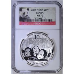 2013 CHINA PANDA SILVER ROUND 1 oz .999 NGC MS 70