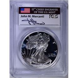 1999-P PROOF AMERICAN SILVER EAGLE, PCGS PR-69 DCAM  MERCANTI SIGNED