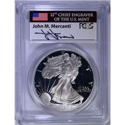 2000-P PROOF AMERICAN SILVER EAGLE, PCGS PR-69 DCAM  MERCANTI SIGNED