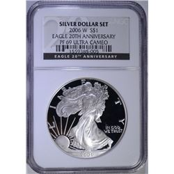 2006-W 20th ANNIVERSARY PROOF AMERICAN SILVER EAGLE, NGC  PF-69 ULTRA CAMEO