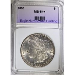 1880 MORGAN SILVER DOLLAR, ENG CH+/GEM BU