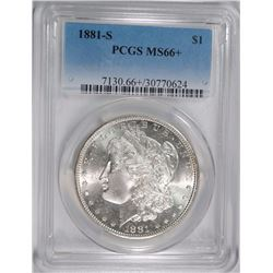 1881-S MORGAN SILVER DOLLAR, PCGS MS-66+