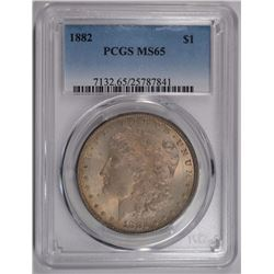 1882 MORGAN SILVER DOLLAR, PCGS MS-65  PRETTY TONING!
