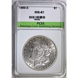 1889-S MORGAN SILVER DOLLAR, PCSS CHOICE BU