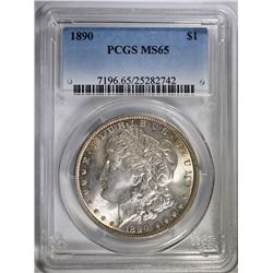 1890 MORGAN SILVER DOLLAR, PCGS MS-65 WHITE OBVERSE TONED REVERSE
