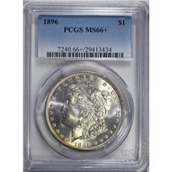 1896 MORGAN SILVER DOLLAR PCGS MS66+ - BIG MONEY IN 67!