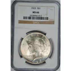 1923 PEACE DOLLAR, NGC MS-66  TOUGH IN HIGH GRADES