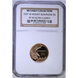 1991-W MOUNT RUSHMOORE $5.00 COMMEMORATIVE GOLD, NGC PF-69 ULTRA CAMEO