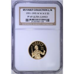 1991-95-W WW II $5.00 COMMEMORATIVE GOLD, NGC PF-69 ULTRA CAMEO