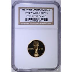 1994-W WORLD CUP $5.00 COMMEMORATIVE GOLD, NGC PF-69 ULTRA CAMEO