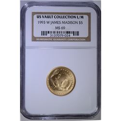 1993-W  JAMES MADISON $5.00 COMMEMORATIVE GOLD, NGC MS-69