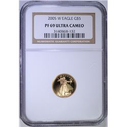 2005-W $5.00 GOLD EAGLE, NGC PF-69 ULTRA CAMEO