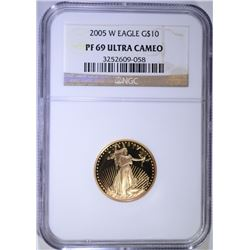 2005-W $10.00 GOLD EAGLE, NGC PF-69 ULTRA CAMEO