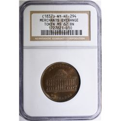 1837 HARD TIMES TOKEN MERCHANTS EXCHANGE NGC MS 62 BN