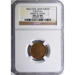 1863 CIVIL WAR TOKEN ARMY & NAVY NGC MS 62 BROWN