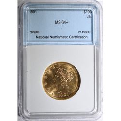 1901 $10.00 GOLD LIBERTY HEAD EAGLE COIN NNC CH BU+