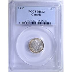 1936 SILVER 10 CENTS CANADA PCGS MS63