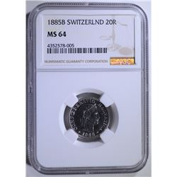 1885B SWITZERLAND 20R NGC MS 64  SCARCE