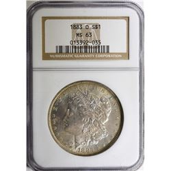 1883-O MORGAN SILVER DOLLAR NGC MS 63
