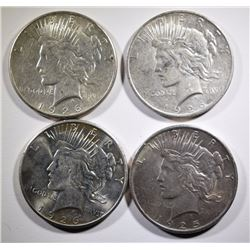 1925 & 1926-P-D-S NICE CIRCULATED PEACE SILVER DOLLARS