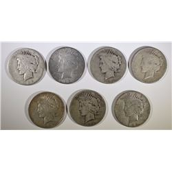 7 LOW GRADE PEACE DOLLARS