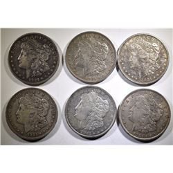 (3 ) 1921 & ( 3 ) 1921-D AVERAGE CIRCULATED MORGAN SILVER DOLLARS