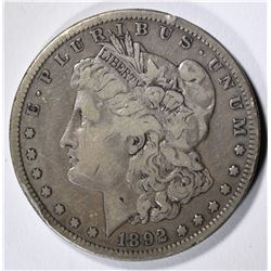 1892-S MORGAN SILVER DOLLAR, FINE+