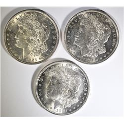 ( 3 ) CHOICE BU MORGAN SILVER DOLLARS
