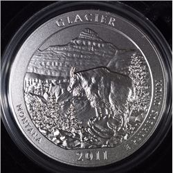 2011-P  AMERICA THE BEAUTIFUL GLACIER 5 OUNCE SILVER QUARTER IN ORIG BOX & COA